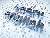 Education concept: Silver Learn English on digital background — Photo