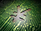 Currency concept: Yen on circuit board background — Stock Photo