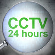 Safety concept: CCTV 24 hours with optical glass — Stock Photo #43347465