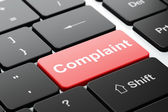 Law concept: Complaint on computer keyboard background — Stok fotoğraf