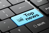 News concept: Growth Graph and Top News on computer keyboard background — Stock Photo