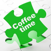 Time concept: Coffee Time on puzzle background — Foto de Stock