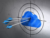 Cloud technology concept: arrows in Cloud target on wall background — Stock Photo