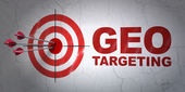 Business concept: target and Geo Targeting on wall background — Stock Photo