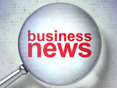 News concept: Business News with optical glass — Stockfoto