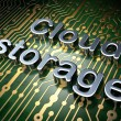 Cloud computing concept: Cloud Storage on circuit board background — Stock Photo