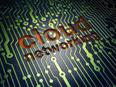 Cloud technology concept: Cloud Networking on circuit board background — Stock Photo