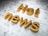 News concept: Golden Hot News on digital background — Stock Photo