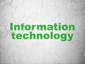 Information concept: Information Technology on wall background — 图库照片