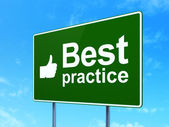 Education concept: Best Practice and Thumb Up on road sign background — Stock Photo