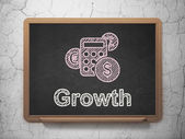 Finance concept: Calculator and Growth on chalkboard background — Stock Photo