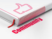 Social network concept: book Thumb Up, Community on white background — Stok fotoğraf