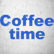 Time concept: Coffee Time on wall background — Stock Photo