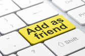Social media concept: Add as Friend on computer keyboard background — Stok fotoğraf