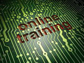 Education concept: Online Training on circuit board background — Foto de Stock