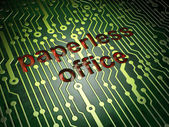 Business concept: Paperless Office on circuit board background — Stock Photo