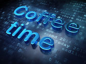 Time concept: Blue Coffee Time on digital background — Stock Photo