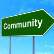 Social media concept: Community on road sign background — Stock Photo #43758313