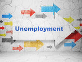 Business concept: arrow with Unemployment on grunge wall background — Stok fotoğraf