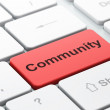 Social media concept: Community on computer keyboard background — Stock Photo #43760743