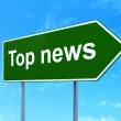 News concept: Top News on road sign background — Stock Photo
