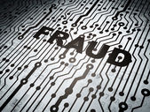 Protection concept: circuit board with Fraud — Stock Photo