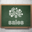 Advertising concept: Finance Symbol and Sales on chalkboard background — Stock Photo