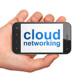 Cloud networking concept: Cloud Networking on smartphone — Stockfoto