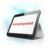 Finance concept: Unemployment on tablet pc computer — Stok fotoğraf