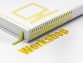 Education concept: book Computer Pc, Workshop on white background — Foto Stock