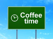 Timeline concept: Coffee Time and Clock on road sign background — Foto Stock