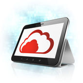 Cloud computing concept: Cloud on tablet pc computer — Stockfoto