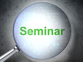 Education concept: Seminar with optical glass — Stock Photo