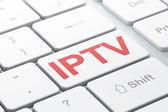 SEO web design concept: IPTV on computer keyboard background — Stock Photo