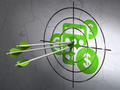 Business concept: arrows in Calculator target on wall background — Stock Photo