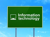 Data concept: Information Technology and Computer Pc on road sign background — Stock Photo