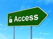 Protection concept: Access and Opened Padlock on road sign background — Stock Photo
