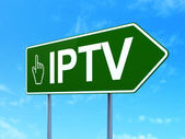 Web development concept: IPTV and Mouse Cursor on road sign background — Stock Photo