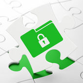 Business concept: Folder With Lock on puzzle background — Stock Photo