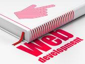 Web design concept: book Mouse Cursor, Web Development on white background — Zdjęcie stockowe