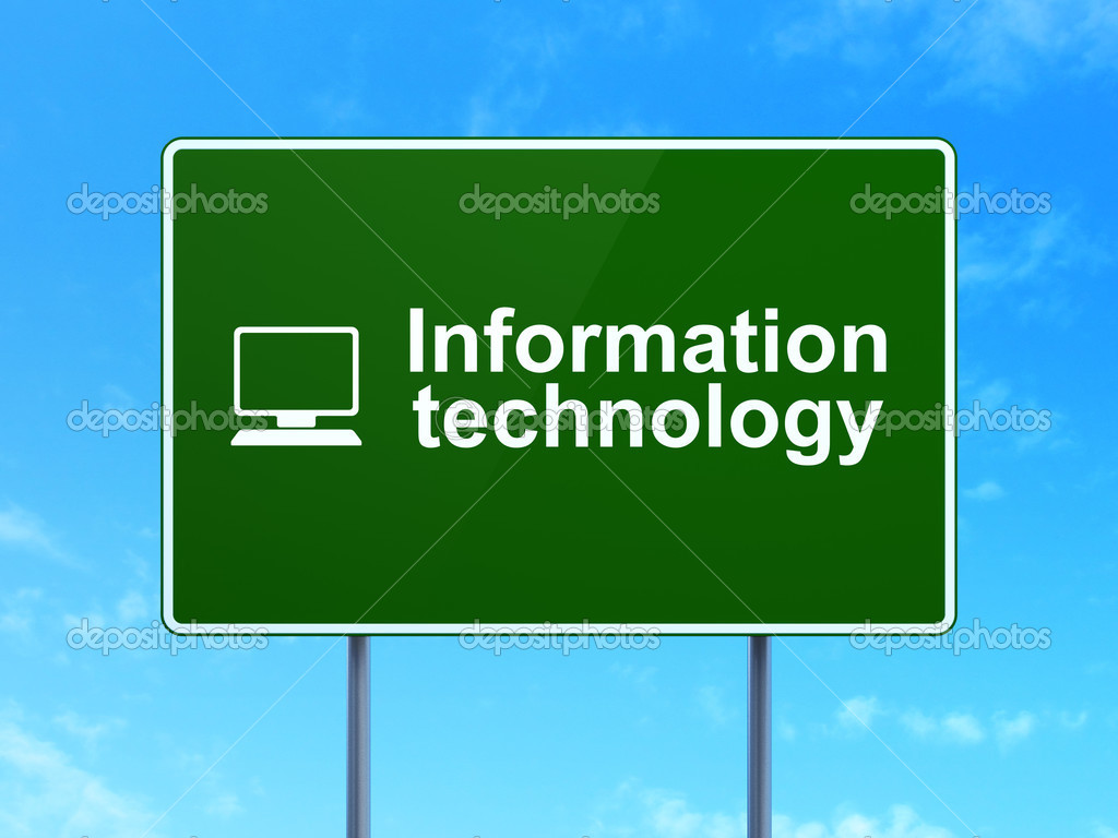 technology information sign computer data road background concept highway pc plus google