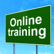 Education concept: Online Training on road sign background — Stock Photo #44018167