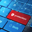 Privacy concept: Shield With Keyhole and Protection on keyboard — Stock Photo