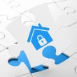 Finance concept: Home on puzzle background — Stock Photo #44019543