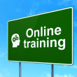 Education concept: Online Training and Head Gears on road sign — Stock Photo #44019743