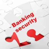Banking Security on puzzle background — Stock Photo
