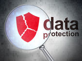 Safety concept: Broken Shield and Data Protection optical glass — Foto Stock