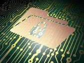 Finance concept: circuit board with Folder Lock — Stock Photo