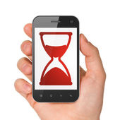 Time concept: Hourglass on smartphone — Stock Photo