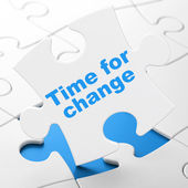 Time for Change on puzzle background — Stock Photo